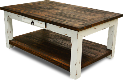 Cottage Rustic Rectangular Cocktail Table Distressed White