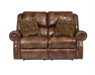 Walworth Leather Reclining Loveseat Auburn