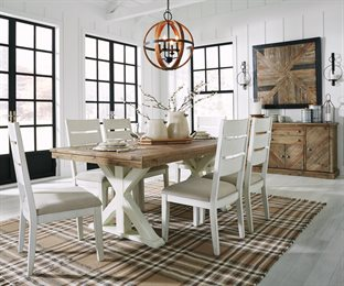 Grindleburg 7PC Rectangular Dining Room Collection Light Brown