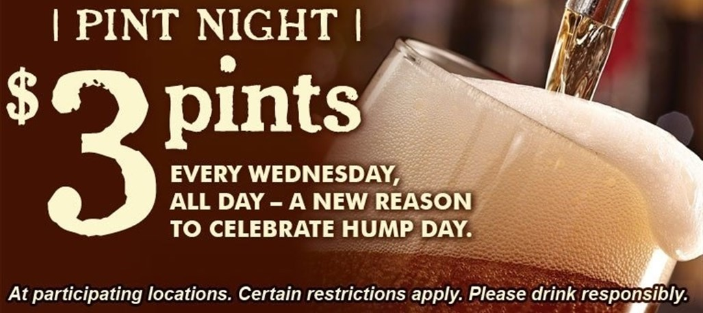 $3 pints every Wednesday, ALL DAY - At participating locations.