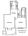 One bedroom apartment at Windsor Point Retirement Community