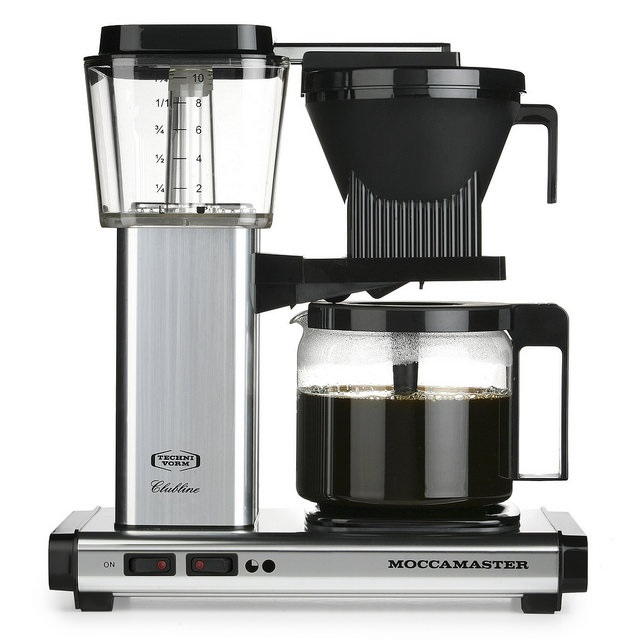 Carolina Coffee A Technivorm Moccamaster KBG Automatic Drip Stop Coffee Maker with Glass Carafe - Polished Silver
