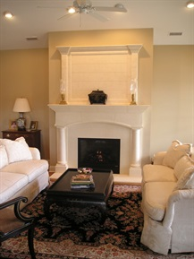 Stone mantel with overmantel