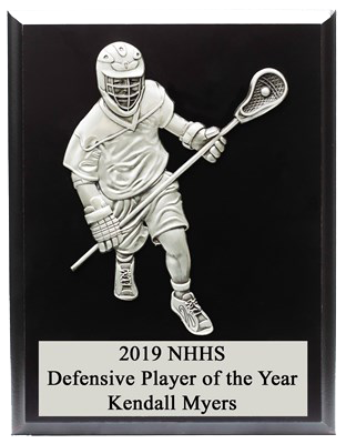 DEFENSIVE MALE FIGURE LACROSSE PLAQUE